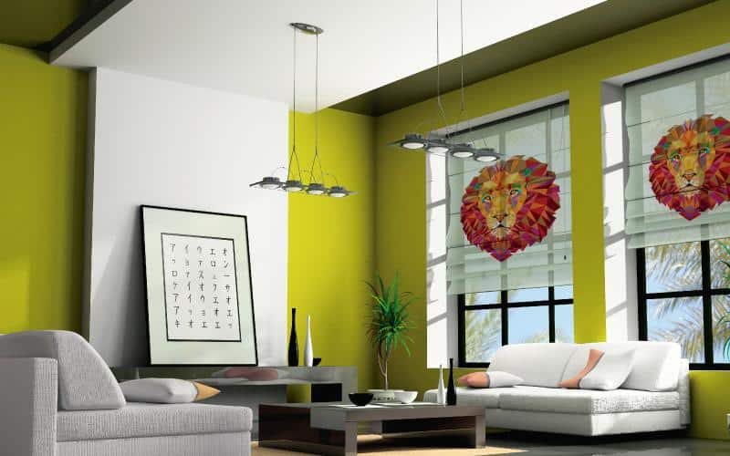 Persianas impresas Pentagrama en sala de hogar