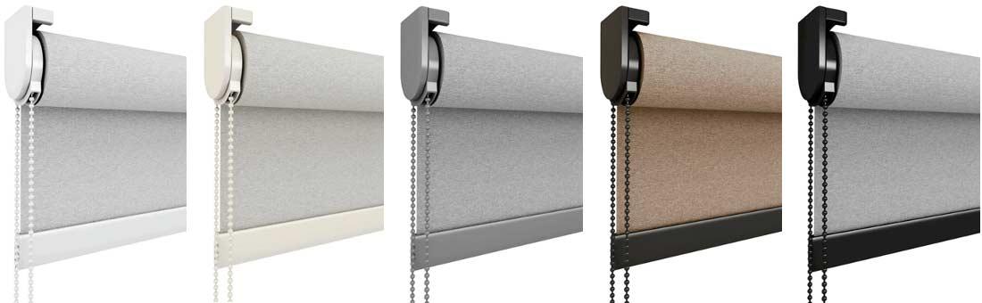 Soportes metálicos Clic y tapas plásticas en colores coordinados para persianas y cortinas Enrollables: blanco, beige, gris, bronce y negro