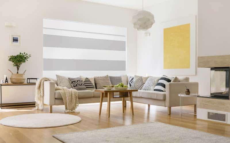 Sala con chimenea, muebles modernos y cortinas romanas