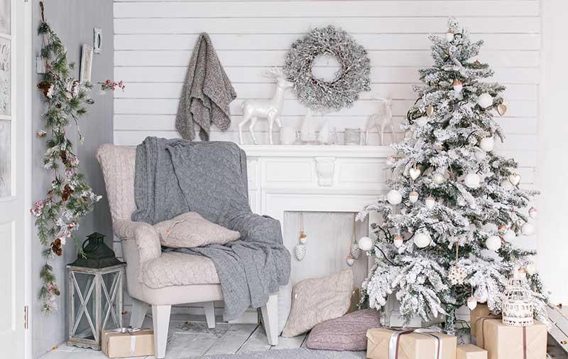 Estilo decorativo para navidad blanca