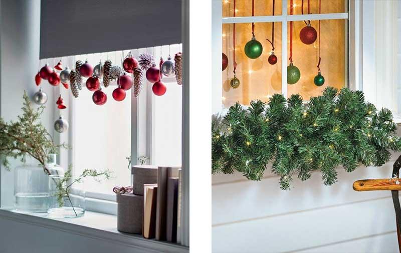 Ventanas decoradas con accesorios navideños