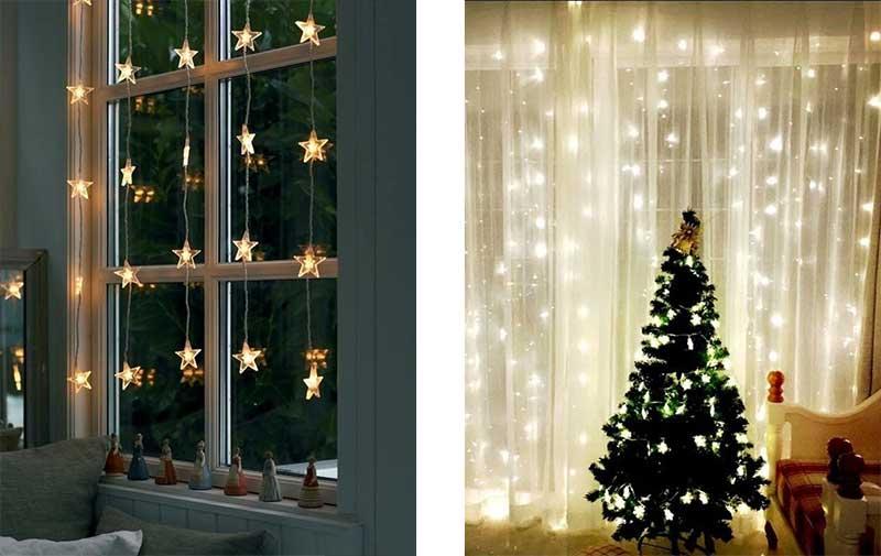 Ventanas decoradas con luces navideñas