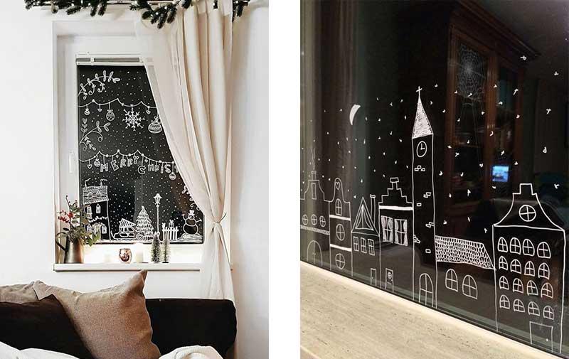 Ventanas decoradas con vinilos impresos con motivos navideños