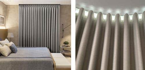 Detalle de una cortina Onda serena Pentagrama color gris